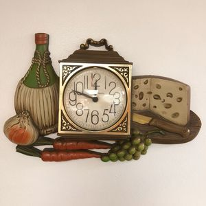 Vintage Cottagecore Wall Clock Kitchen Cheese Wine